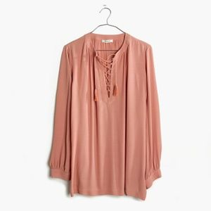 Madewell  Lace-Up Peasant Top XS Dusty Rose